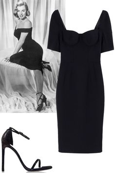 Hiphugging dress, midi length + strappy black heels Dolce & Gabbana dress, $2,945, shopBAZAAR.com; Stuart Weitzman heel, $415, shopBAZAAR.com.   - ELLE.com
