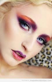Resultado de imagen de maquillaje de ojos naranja y verde