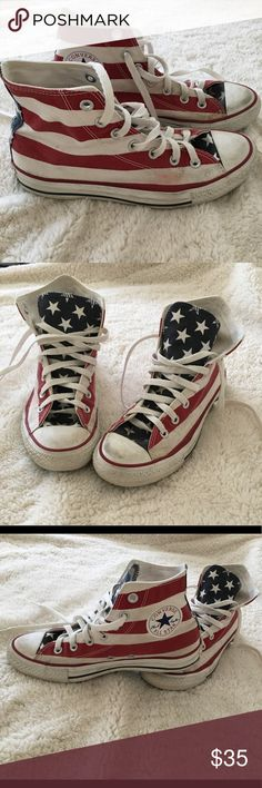 Converse Chuck Taylor Americana High Top Classic American flag Converse in  good condition with some stains 3884c6f2b