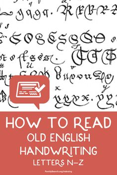 How can you read that Old English Handwriting letters n-z? Use these examples to read important records of your ancestors Genealogy Research, Family Genealogy, Letter Art, Letters, English Handwriting, Free Family Tree, Family Search, Old English, Caligraphy