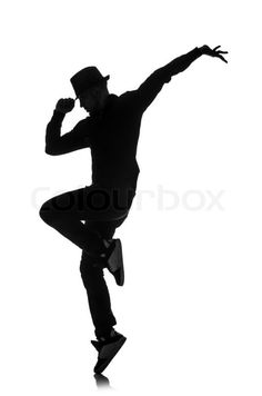 Stock Bild von 'Silhouette der männlichen Tänzer , isoliert auf weiss'