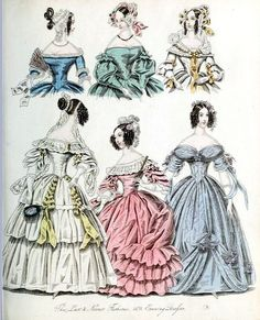 The World of Fashion and Continental Feuilletons 1838 Plate 18 by CharmaineZoe, via Flickr