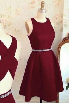 Short A line homecoming dress,burgundy homecoming dress,cross back short party dress,cocktail dresses, homecoming dresses