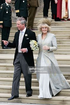 The Prince of Wales Prince Charles and The Duchess Of Cornwall Camilla Parker Bowles in silk dress...