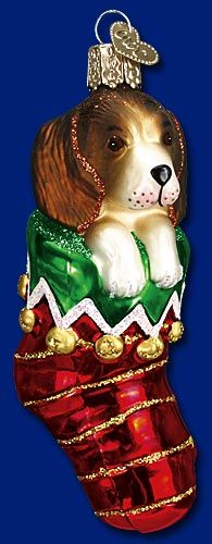Puppy in Stocking, Merck Family's Old World Christmas Glass Ornaments, www.oldworldchristmas.com
