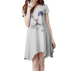 CLC bday    Amazon.com: Allegra K Lady Scoop Neck Short Sleeve Cat Head Patterned Irregular Hem Dress: Clothing