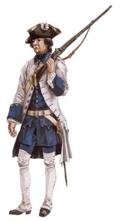 "Soldier of the Compagnies franches de la Marine serving on warships in France, around 1750 - ""The uniforms of these troops were virtually identical to those of the Compagnies franches de la Marine in the colonies. Reconstruction by Michel Pétard."""
