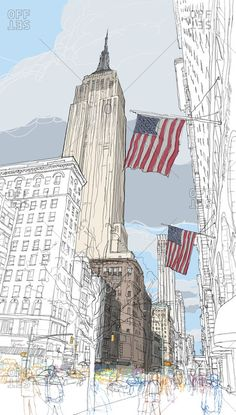 Rupert Van Wyk - 2 American flags fluttering in the wind below The Empire State Building Building Drawing, Building Sketch, Landscape Drawings, Architecture Drawings, Voyage New York, New York Art, Urban Sketchers, City Art, Urban Landscape