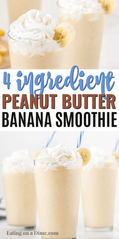 Enjoy this easy peanut butter banana smoothie for a tasty breakfast idea or treat any time of the day. Your kids will love this rich and creamy smoothie. Peanut Butter Smoothie, Healthy Peanut Butter, Peanut Butter Banana, Baby Smoothies, Breakfast Smoothies, Banana Smoothies, Eating Bananas, Smoothies With Almond Milk, Easy Smoothie Recipes
