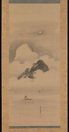 Landscape in Moonlight Artist: Kano Tan'yū (Japanese, 1602–1674) Period: Edo…