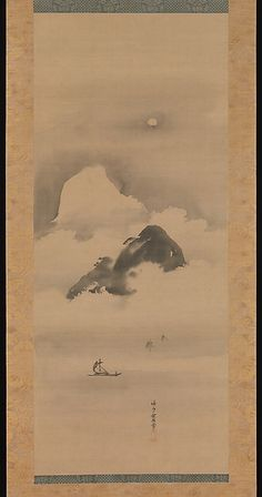 Landscape in Moonlight Artist: Kano Tan'yū (Japanese, 1602–1674) Period: Edo…