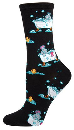 Socks Women's Novelty Crew - Hippo Bath - Cotton, Spandex & Nylon