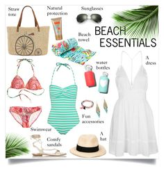 """Beach Essentials"" by annabu ❤ liked on Polyvore featuring Miu Miu, Eugenia Kim, bkr, Ray-Ban, Straw Studios, Topshop, River Island, George, Lilly Pulitzer and Summer"