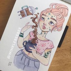 """2,089 Likes, 17 Comments - Daily Drawings by Kirsten W. (@winklebeebee) on Instagram: """"April 13th #dailydrawing [French Press]. Swipe for close ups! I'm 100% here for witchy face…"""""""