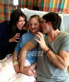 Nina Dobrev and Ian Somerhalder visit 14-year-old Vampire Diaries fan before she has a lung transplant.