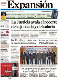 Los Titulares y Portadas de Noticias Destacadas Españolas del 10 de Mayo de 2013 del Diario Expansión ¿Que le parecio esta Portada de este Diario Español?