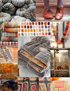 Tan leather, heather grey knit and grey pumpkin inspired moodboard/color palette Colour Pallette, Colour Schemes, Color Combos, Diy Photo, Autumn Inspiration, Color Inspiration, Cocoon, Mood And Tone, Colour Board