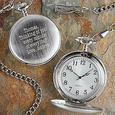 Herrington Engraved Silver Pocket Watch - such a great Valentine's Day gift idea for your boyfriend or husband! You can have it engraved with any message and his monogram - I love this idea!