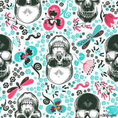 Вектор: Floral seamless pattern with monochrome human skulls in woodcut style and cute decorative flowers and insects on background. Vector illustration for wallpaper, textile print, wrapping paper