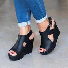 9557a5b40996 Casual Fish Toe Wedge Sandals Peep Toe Shoes