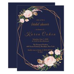 Shop Watercolor Pink Gold Navy Boho Chic Floral Wedding Invitation created by riverme. Navy Bridal Shower, Chic Bridal Showers, Bridal Shower Cards, Bridal Shower Invitations, Brunch Invitations, Invitation Suite, Diy Wedding Flowers, Mauve Wedding, Wedding Ideas
