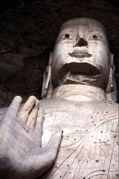 Yungang Grottoes - One of the larger statues at Yungang