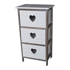 Shabby Chic Modern Wooden White Bedside Table Drawer Cabinet with Love Heart Cut out Storage Units Cupboard Bedroom Bathroom Kitchen Furniture (3 Draws)