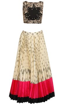 Black and cream block print sequins embellished lehenga set available only at Pernia's Pop-Up Shop.