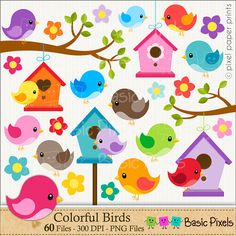 Bird clipart Digital Clip Art Personal and por basicpixels Fruit Clipart, Bird Clipart, Art Mural Rose, Project Yourself, Make It Yourself, Image Clipart, Bottle Cap Images, Cute Birds, Digital Collage