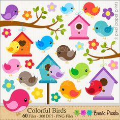 Bird clipart Digital Clip Art Personal and por basicpixels                                                                                                                                                                                 Más