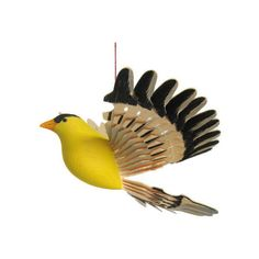 Wooden Bird Goldfinch Wood Carving, Folk Craft Woodwork Bird Mobile,... ($45) ❤ liked on Polyvore featuring integritytt