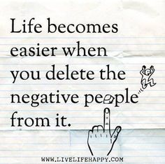 The more you start deleting negativity and negative people out your life, the better you will be and the easier life will get. Now Quotes, Great Quotes, Words Quotes, Quotes To Live By, Motivational Quotes, Funny Quotes, Life Quotes, Inspirational Quotes, Wisdom Quotes