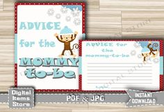 Monkey Snow Advice For Parents To Be - Advice For Mommy in Monkey Winter - Baby Shower Advice Cards blue dark red - INSTANT DOWNLOAD - ms1 by DigitalitemsShop on Etsy