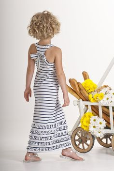 Kate Mack - Seaside Petals Girls Striped Knit Maxi Dress in White / Navy : Big Girl 7-16