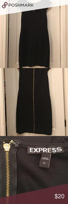 Express black back zip up dress Scoop neck with gold zip up on back Express Dresses