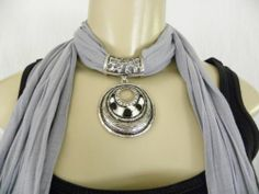 New Womens Pendant Scarf Necklace Jewelry Choker Bling Gray Scarf