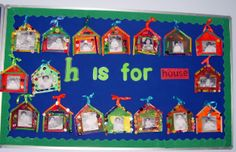 pop sickle stick house craft- great to teach the letter h and a great way to teach geometry as well- modeling a triangle and square using concrete materials. Kindergarten Age, Kindergarten Activities, Alphabet Activities, Educational Activities, Concrete Materials, Letter Identification, Geometry, Modeling, Triangle