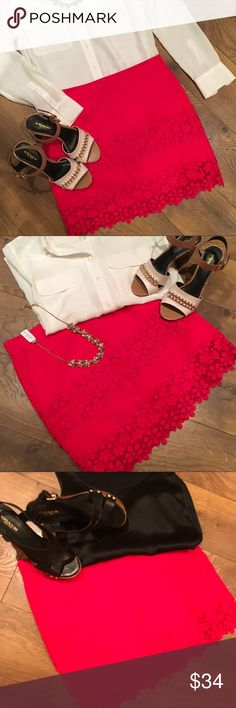 "J. CREW LAYERS OF LACE SKIRT NWOT Beautiful Red (not dark red) J Crew skirt with layers of crochet lace.  96% cotton 4% spandex,  fully lined. Waist 15""  hip 18"". Length 17""  👠😍 J. Crew Skirts"