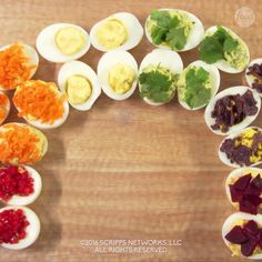Spice up this classic appetizer with a splash of color! These Rainbow Deviled Eggs are sure to impress your guests!