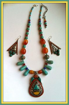 FREE USA SHIPPING only Nepal Necklace & Earring by BellaEmyJewels