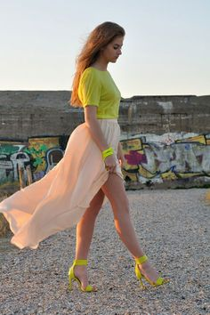 Neon Is Attractive Color In today's ss14 season. Love how nude compliments with the neon