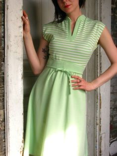 vintage MINT GREEN and white striped SLEEVELESS summer dress