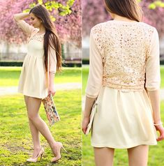Apricot Dress, Chic Wish Pink Floral Lace Cardigan, Persunmall Pointed Toe Nude Pumps, Romwe Floral Pastel Bag