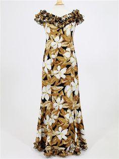 Princess Kaiulani 2121 [Floating Plumeria / Brown] Frill Sleeve Dress - Stage Costumes - Hula Supply | AlohaOutlet SelectShop New Dress Pattern, Dress Patterns, Samoan Dress, Island Style Clothing, Island Wear, Ethnic Fashion, Women's Fashion Dresses, Beautiful Dresses, Lace Dress