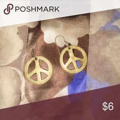 Wooden Peace Sign Earrings Lightweight and fun! Jewelry Earrings