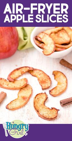 Take your apple slices to another level -- put 'em in the air fryer! They're like traditional dried apple slices, but so much better… Air-Fryer Apple Slices - Air-Fryer Apple Slices - Fun Snacks Made with Fruit Air Fryer Oven Recipes, Air Frier Recipes, Air Fryer Dinner Recipes, Recipes Dinner, Apple Chips, Baked Apple Slices, Dehydrated Apples, Hungry Girl Recipes, Healthy Snacks
