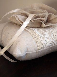 Natalia Lacy Burlap Wedding Ring Bearer Pillow by GemsOfTheSoil