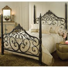 Metal bed for a romantic bedroom