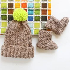"""Knitting pattern for """"Bringing Home Baby"""" alpaca hat and booties. Perfect for moms-to-be!"""
