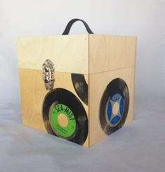 """Handmade large wooden 45/7"""" record carrier with vintage, silkscreened label prints, nickel hardware and a leather handle. Available in a variety of styles, finishes and hardware."""